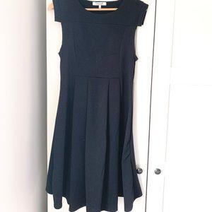 Maternity Black Cap-Sleeve Dress